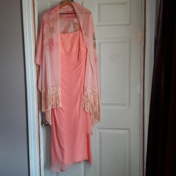 Bari Jay Dresses & Skirts - Spaghetti straps Peach crystals Formal scarf Gown